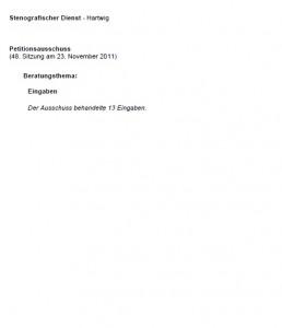 Viel Raum für Notizen: Kurzbericht der letzten Sitzung